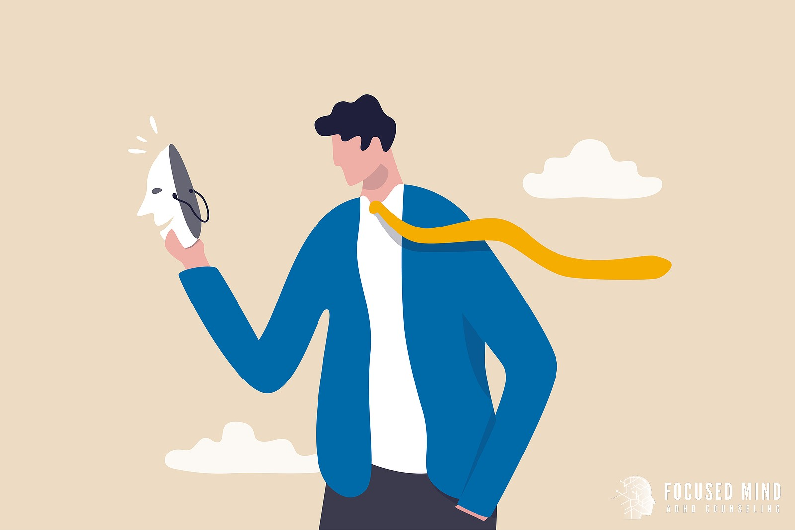A graphic of a person holding a mask in hand. This could symbolize overcoming ADHD imposter syndrome with the help of an ADHD specialist. Contact Focused Mind ADHD Counseling in Columbus, OH