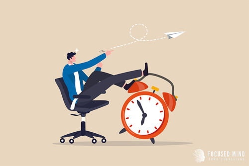 A graphic of person in a chair leaning against a clock. This could represent how ADHD and overthinking can effect time management. Learn about ADHD in adults and how Focused Mind ADHD Counseling can help!